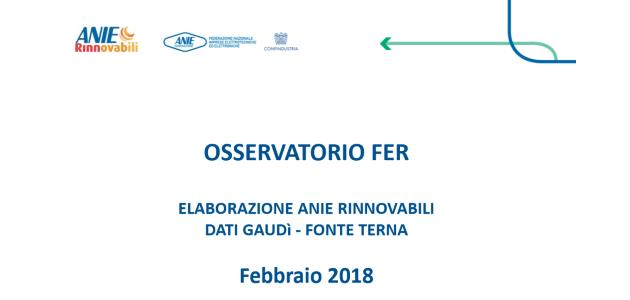 Osservatorio FER: +3% installazioni nei primi due mesi del 2018 rispetto al 2017