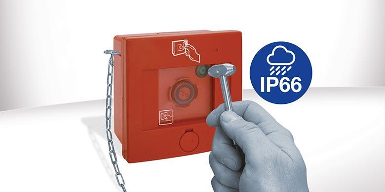 Quadretto AVE PE08 a rottura vetro per emergenza con protezione IP66