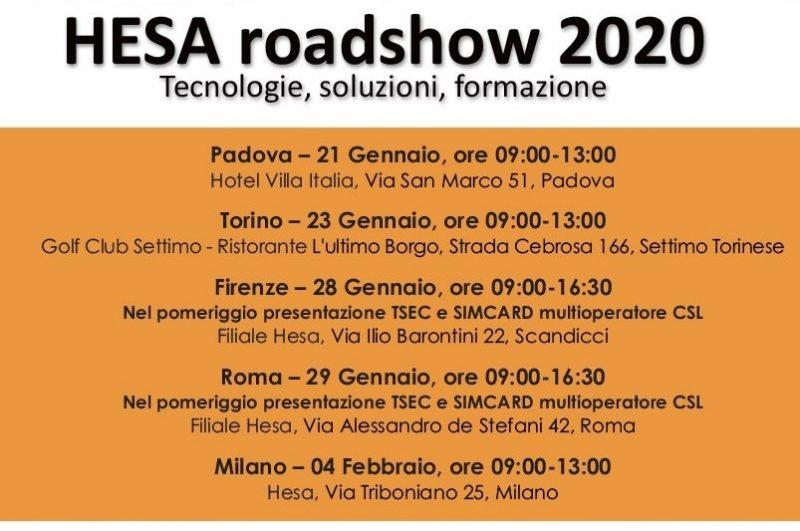 HESA ROADSHOW 2020 Tecnologie, soluzioni, formazione
