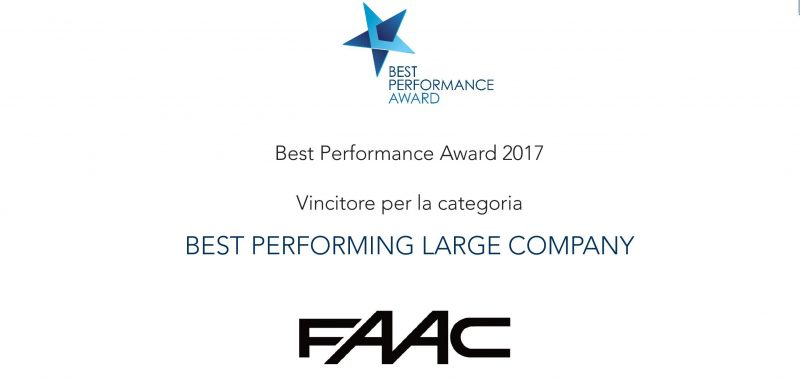 Faac premiata ai Best Performance Awards 2017